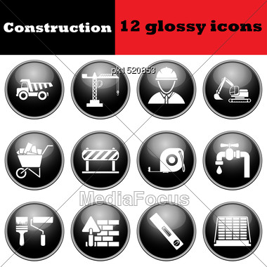Set Of Construction Glossy Icons. EPS 10 Vector Illustration Stock Photo