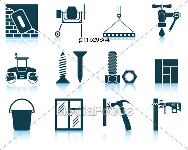 Set Of Construction Icons. EPS 10 Vector Illustration Without Transparency Stock Photo