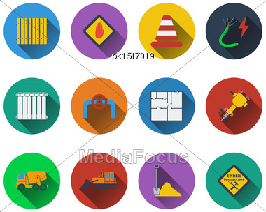 Set Of Construction Icons In Flat Design. EPS 10 Vector Illustration With Transparency Stock Photo