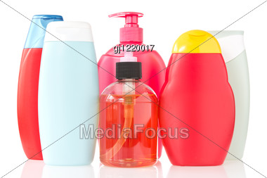 Set Of Cosmetic Bottles Stock Photo