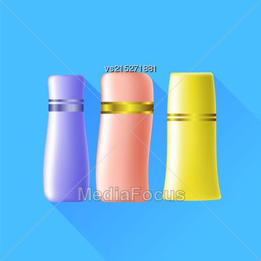 Set Of Cosmetic Tubes Isolated On Blue Background Stock Photo