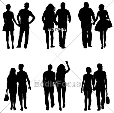 Set Couples Man And Woman Silhouettes On A White Background. Vector Illustration Stock Photo