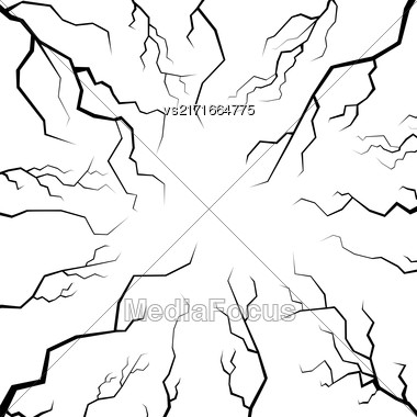 Set Of Cracks For Disaster Design Isolated On White Background. Earthquake Failures. Movement Of The Earths Crust Stock Photo