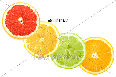 Set Of Cross Citrus Fruits Close-up Studio Photography Stock Photo