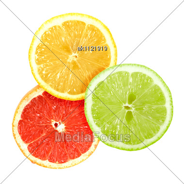 Set Of Cross A Citrus Fruits Close-up Studio Photography Stock Photo