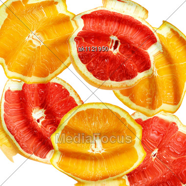 ... Fruits Under Water. Abstract Background. Close-up. Studio Photography