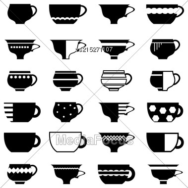 Set Of Cup Silhouettes Isolated On White Background Stock Photo