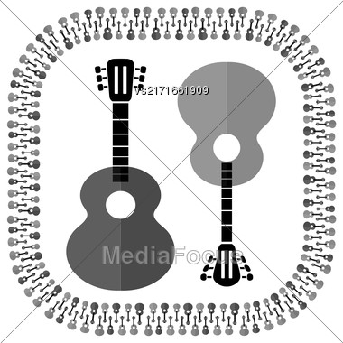 Set Of Different Acoustic Guitars Silhouettes Isolated On White Background. Musical Pattern Stock Photo