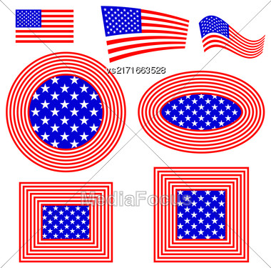 Set Of Different American Flag Design Elements Isolated On White Background Stock Photo