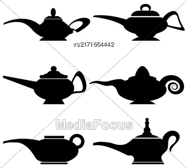 Set Of Different Asian Lamp Silhouettes Isolated On White Background Stock Photo