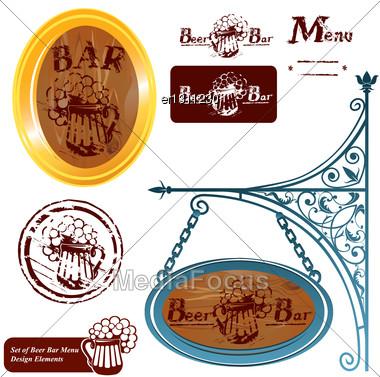 Set Of Different Beer Bar Menu Design Elements Stock Photo