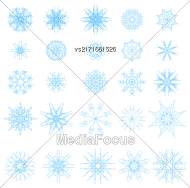 Set Of Different Blue Snowflakes Isolated On White Background Stock Photo