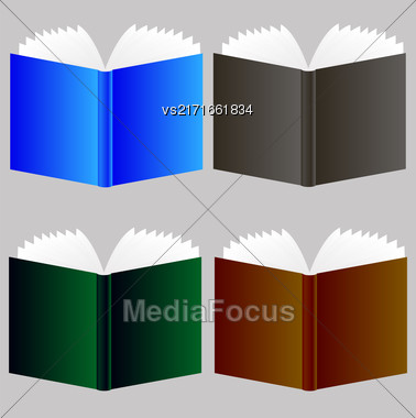 Set Of Different Book Icons Isolated On Grey Background Stock Photo