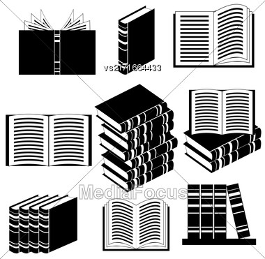 Set Of Different Book Icons Isolated On White Background Stock Photo