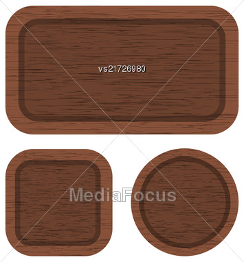 Set Of Different Brown Wood Banners Isolated On White Background. Clean Wooden Texture Stock Photo