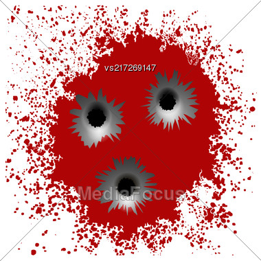 Set Of Different Bullet Holes Isolated On Red Blood Splatter Background Stock Photo