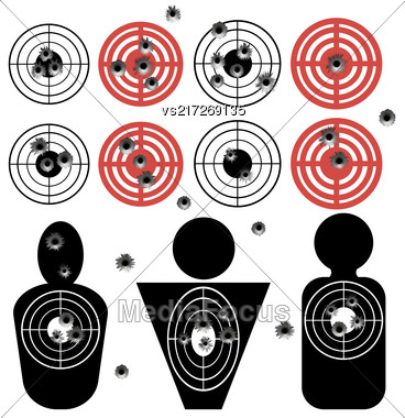 Set Of Different Bullet Holes On White Background Stock Photo