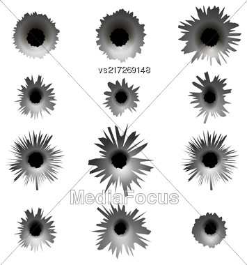 Set Of Different Bullet Holes Isolated On White Background Stock Photo