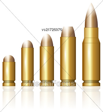 Set Of Different Bullets Isolated On White Background Stock Photo