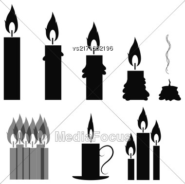 Set Of Different Burning Retro Candles Isolated On White Background Stock Photo