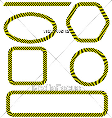 Set Of Different Danger Tape Frames Isolated On White Background. Yellow Black Warning Lines Stock Photo