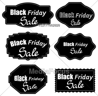 Set Of Different Dark Stickers Isolated On White Background. Black Fridays Labels Stock Photo