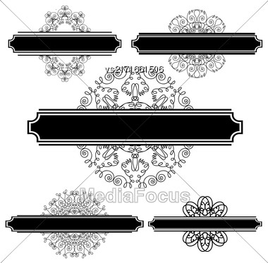 Set Of Different Flourishes Isolated On White Background. Vintage Wedding Invitations. Retro Greeting Card. Flourshes Frame Set Stock Photo