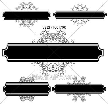 Set Of Different Flourishes Isolated On White Background. Vintage Wedding Invitations. Retro Greeting Card. Flourshes Frame Set Stock Photo