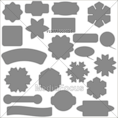 Set Of Different Grey Banners Isolated On White Background Stock Photo