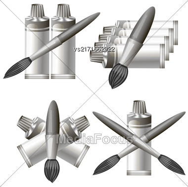 Set Of Different Grey Paint Icon Isolated On White Background. Symbol Of Painter Stock Photo