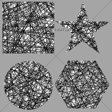 Set Of Different Grunge Shapes Isolated On Grey Background Stock Photo