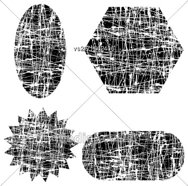 Set Of Different Grunge Shapes Isolated On White Background Stock Photo