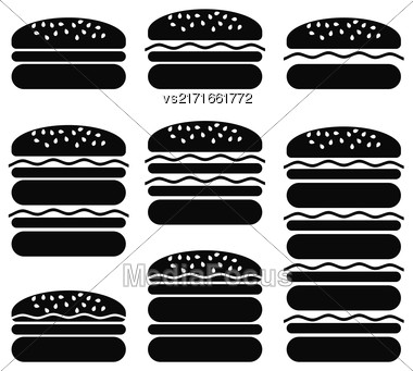 Set Of Different Hamburger Icons Isolated On White Background. Symbol Of Fast Food Stock Photo