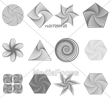 Set Of Different Icons Isolated On White Background. Geometric Ornaments. Guilloche Rosettes Isolated. Ornamental Round Decor Stock Photo