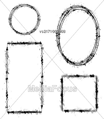 Set Of Different Ink Frames Isolated On White Background. Distressed Dirty Shapes Stock Photo