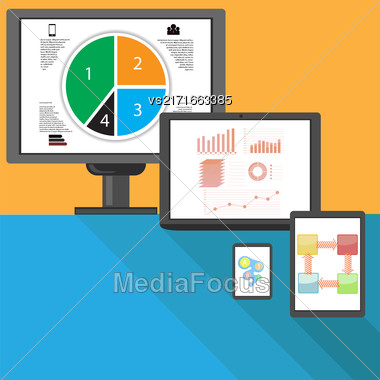 Set Of Different Internet Devices. Tools For Analysis. Business Diagrams On The Screens. Flat Design. Long Shadow Stock Photo