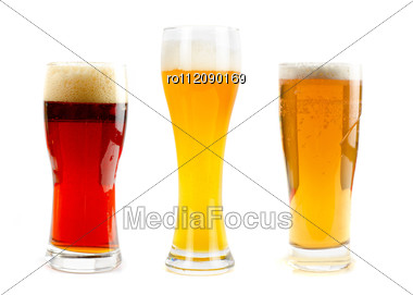 Set Of Different Kind Of Beer At Glasses Stock Photo