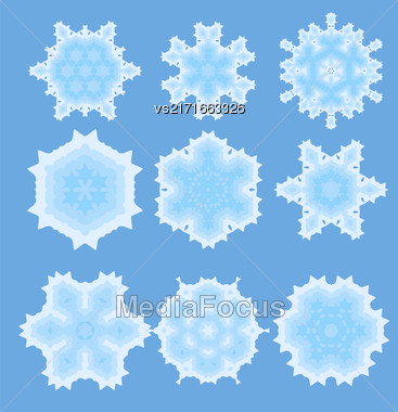 Set Of Different Ornamental Rosettes Isolated On Blue Background Stock Photo