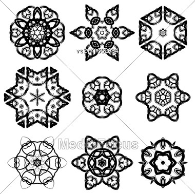 Set Of Different Ornamental Rosettes Isolated On White Background Stock Photo