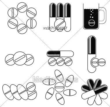 Set Of Different Pills Icons Isolated On White Background Stock Photo