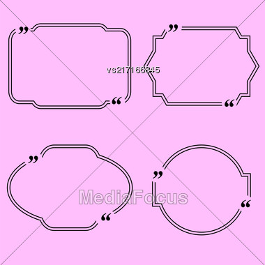 Set Of Different Quote Speech Bubbles Isolated On Pink Background Stock Photo