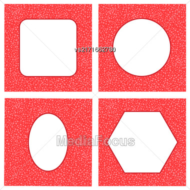 Set Of Different Red Hearts Frames For Valentines Day On White Background Stock Photo