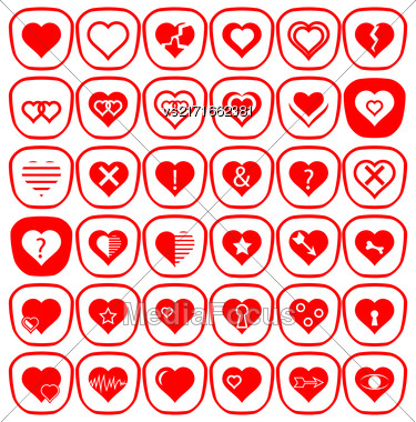Set Of Different Red Hearts Icons Isolated On White Background Stock Photo