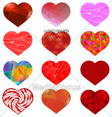 Set Of Different Red Hearts. Romantic Symbol Of Love Stock Photo