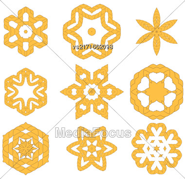 Set Of Different Rope Ornaments Isolated On White Background Stock Photo