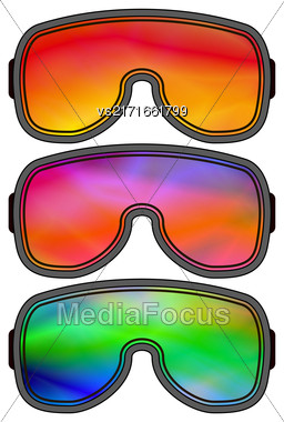 Set Of Different Ski Goggles Isolated On White Background Stock Photo
