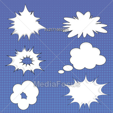 Set Of Different Speech Bubbles Isolated On Blue Halftone Background Stock Photo