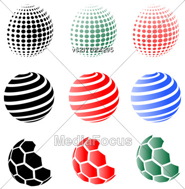 Set Of Different Spheres Isolated On White Background Stock Photo