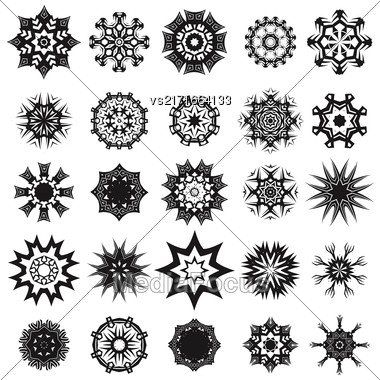 Set Of Different Tribal Rosette Tattoo Design Isolated On White Background. Polynesian Design Stock Photo