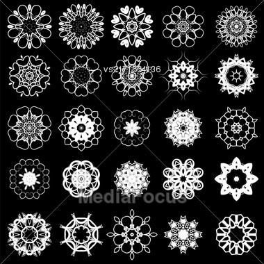 Set Of Different Tribal Rosette Tattoo Design Isolated On Black Background. Polynesian Design Stock Photo